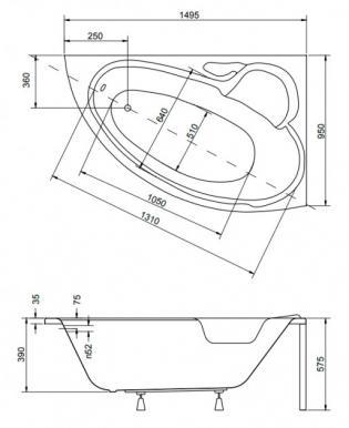 Чертеж ванны Besco Bianka 150х95