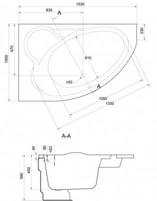 Чертеж ванны Cersanit Kaliope 153