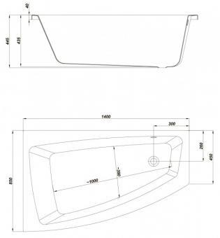 Чертеж ванны Cersanit Lorena 140x85