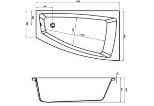Чертеж ванны Cersanit Lorena 150x90