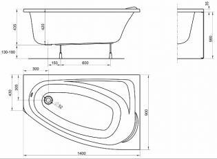 Чертеж ванны KOLO Mystery 140x90