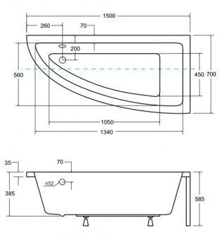 Чертеж ванны Besco Praktika 150х70