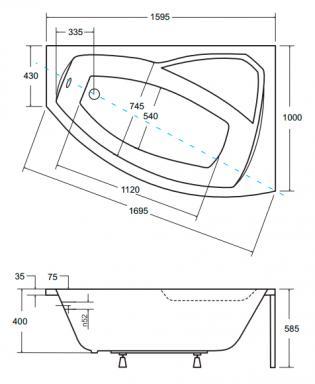 чертеж ванны Besco Rima 160х100