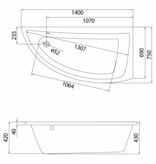 Чертеж ванны Cersanit Nano 140х75
