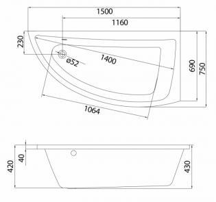 Чертеж ванны Cersanit Nano 150x75