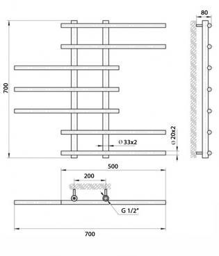 Чертеж полотенцесушитель Китана 70х20х70 (7п)